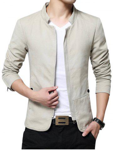 Store Zip Up Stand Collar Solid Color Jacket