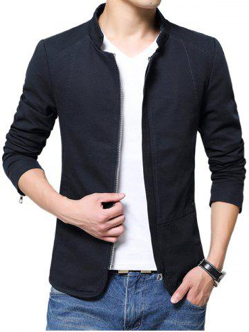 Fancy Zip Up Stand Collar Solid Color Jacket