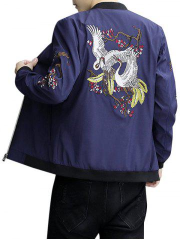 New Zip Up Stand Collar Embroidery Crane Jacket