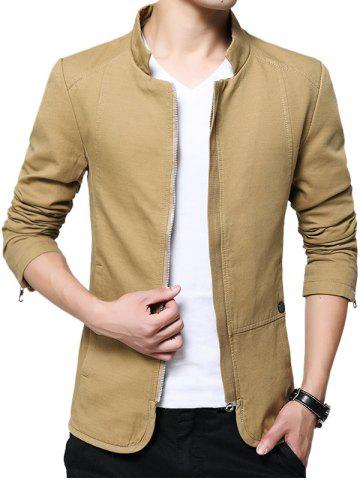 Buy Zip Up Stand Collar Solid Color Jacket