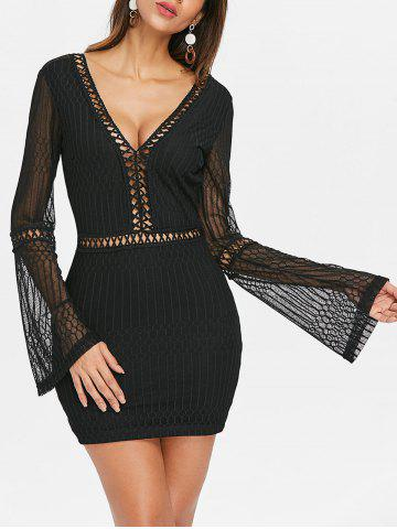 Fashion Lace Trim Long Sleeve Open Back Dress