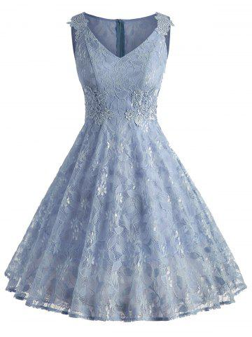V Neck Floral Lace A Line Dress - Blue Angel - L