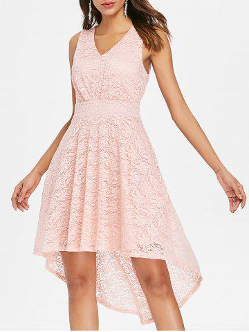 Online Sleeveless High Low Lace Dress