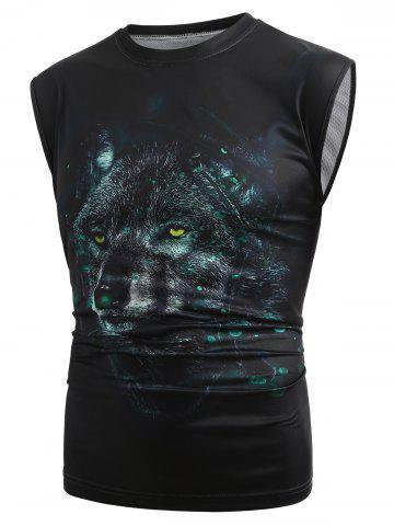 Trendy 3D Wolf Print Casual Tank Top
