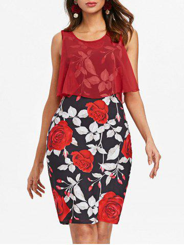 Outfits Overlay Floral Print Bodycon Dress