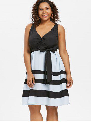 Plus Size V Neck Fit and Flare Dress