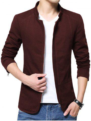 Zip Up Stand Collar Solid Color Jacket