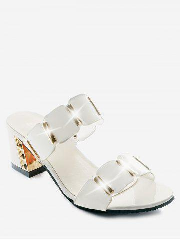 a89af8579606b3 Plus Size Leisure Block Heel Metallic Slide Sandals
