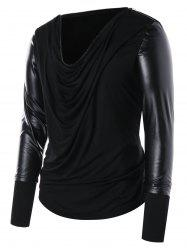 Zip Collar PU Leather Panel T-shirt -