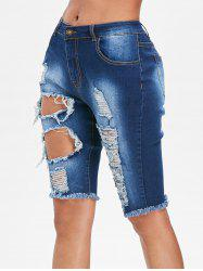 High Waist Distressed Denim Shorts -