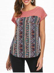 Pocket Ethnic Print Panel T-shirt -