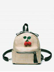 Leisure Straw Travel Cherry Pattern Multi Function Backpack -