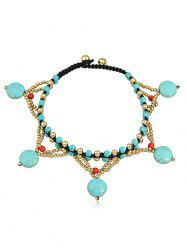 Bohemian Artificial Gemstone Joint Beads Anklet -
