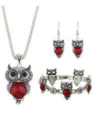 Owl Design Pendant Necklace Bracelet Earrings Set -