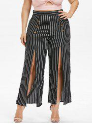 Plus Size Striped High Slit Pants -