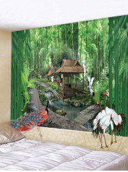 Crane Bamboo Forest Print Wall Hanging Tapestry -