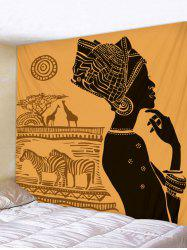 Ethnic Style Women with Animal Print Wall Decor Tapestry -