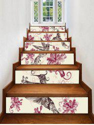 Flower Bird Print Decorative Stair Stickers -