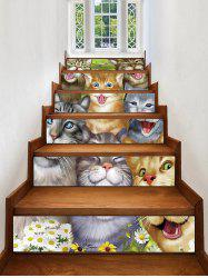 Cute Kitten Print Decorative Stair Stickers -