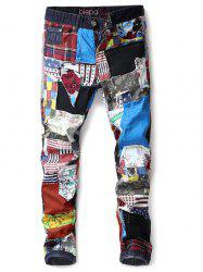 Colorful Patch Buttons Fly Denim Long Pants Jeans -