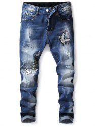 Crowned Crane Leaves Embroidery Hole Patches Skinny Jeans -