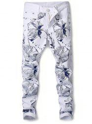 Floral Print Narrow Feet Slimming Jeans -