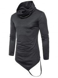 Pile Heap Collar Irregular Hem Solid Color Long Sleeve Casual T-shirt -