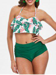 Palm Flower Tummy Control Bikini Set -