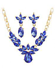 Shiny Crystal Inlaid Pendant Necklace and Earrings Set -