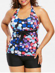 Plus Size Polka Dot Halter Tankini Set -
