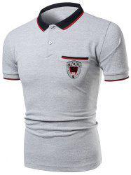 Striped Collar Number Letter Polo Shirt -