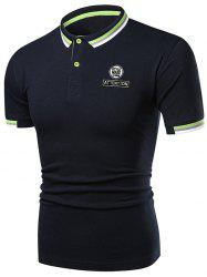Letter Graphic Casual Polo Shirt -