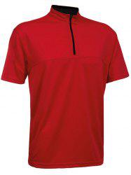 Zip Placket Short Sleeve Activewear Tee -