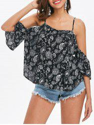 Paisley Print Open Shoulder Top -
