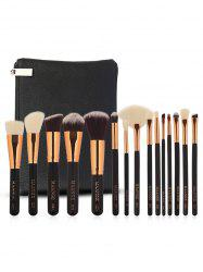 15Pcs Ultra Soft Fiber Hair Cosmetic Brush Set with Cosmetic Bag -