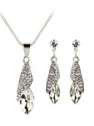 Rhinestone Inlaid Water Drop Faux Gem Jewelry Set -