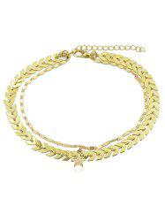 Layered Star Arrow Chain Anklet -