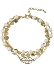 Hollow Leaf Beaded Disc Charm Anklet -