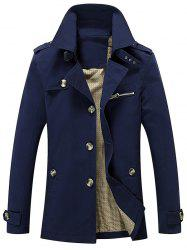 Turn Down Collar Epaulet Design Button Up Jacket -