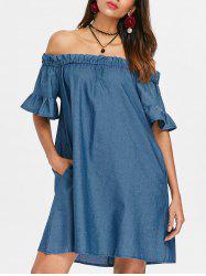 Off The Shoulder Ruffle Hem Shift Dress -