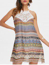 Crochet Trim Sleeveless Print Chiffon Dress -