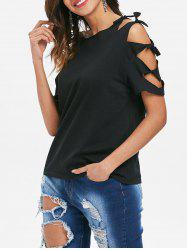 Cut Out Sleeve Round Neck T-shirt -