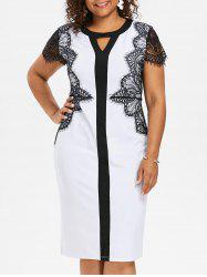 Keyhole Neck Plus Size Lace Insert Bodycon Dress -