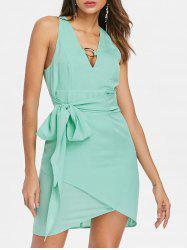 Plunging Neckline Chiffon Bodycon Dress -