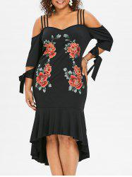 Plus Size Tie Sleeve Embroidery Fishtail Dress -