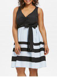 Plus Size V Neck Fit and Flare Dress -