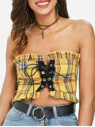 Ruffle Trim Lace Up Crop Top -