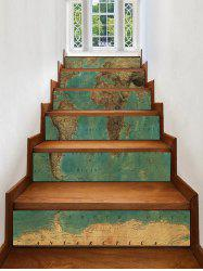 Vintage Map Print Decorative Stair Stickers -