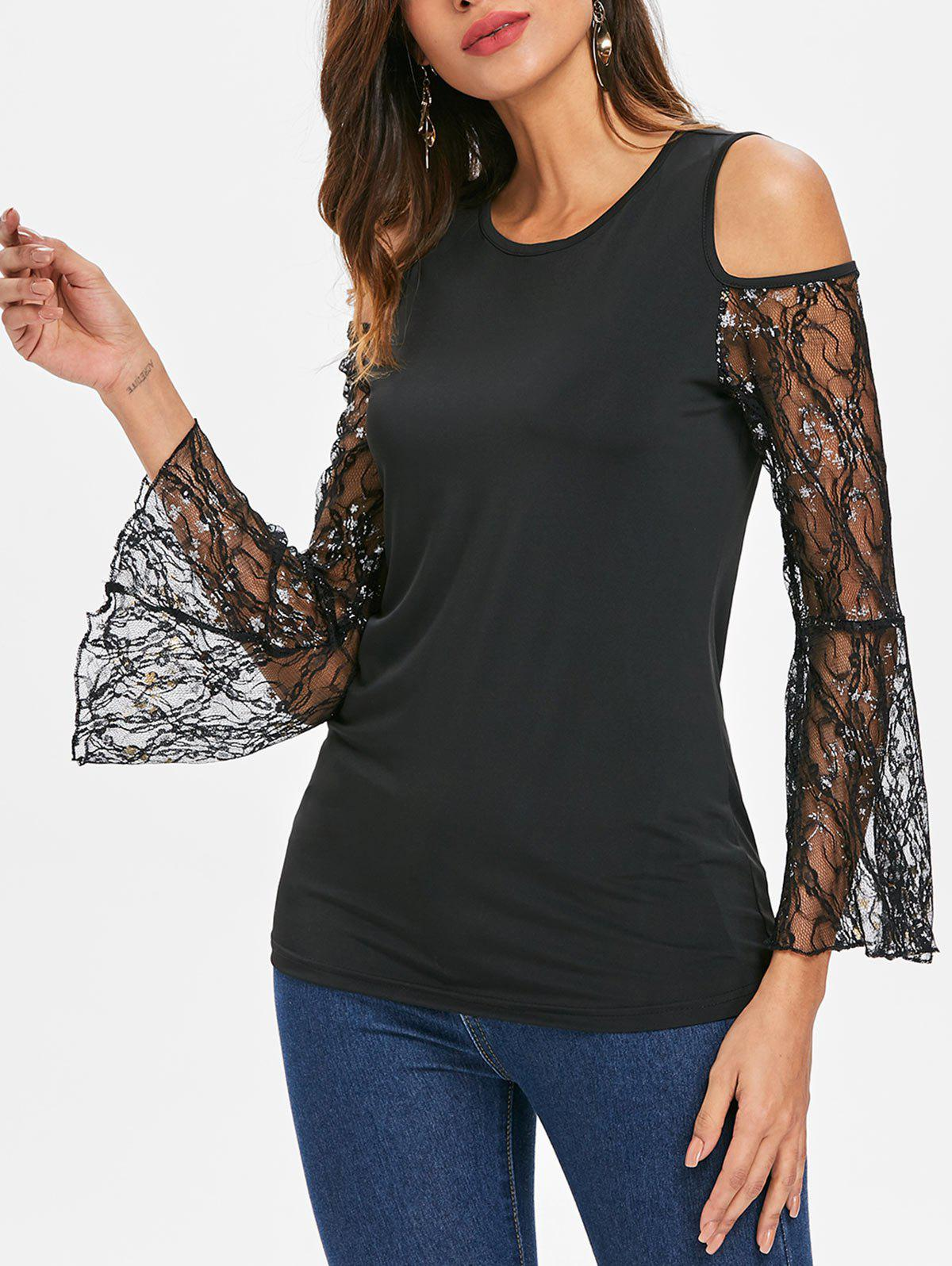 Chic Lace Flare Sleeve Cold Shoulder Top