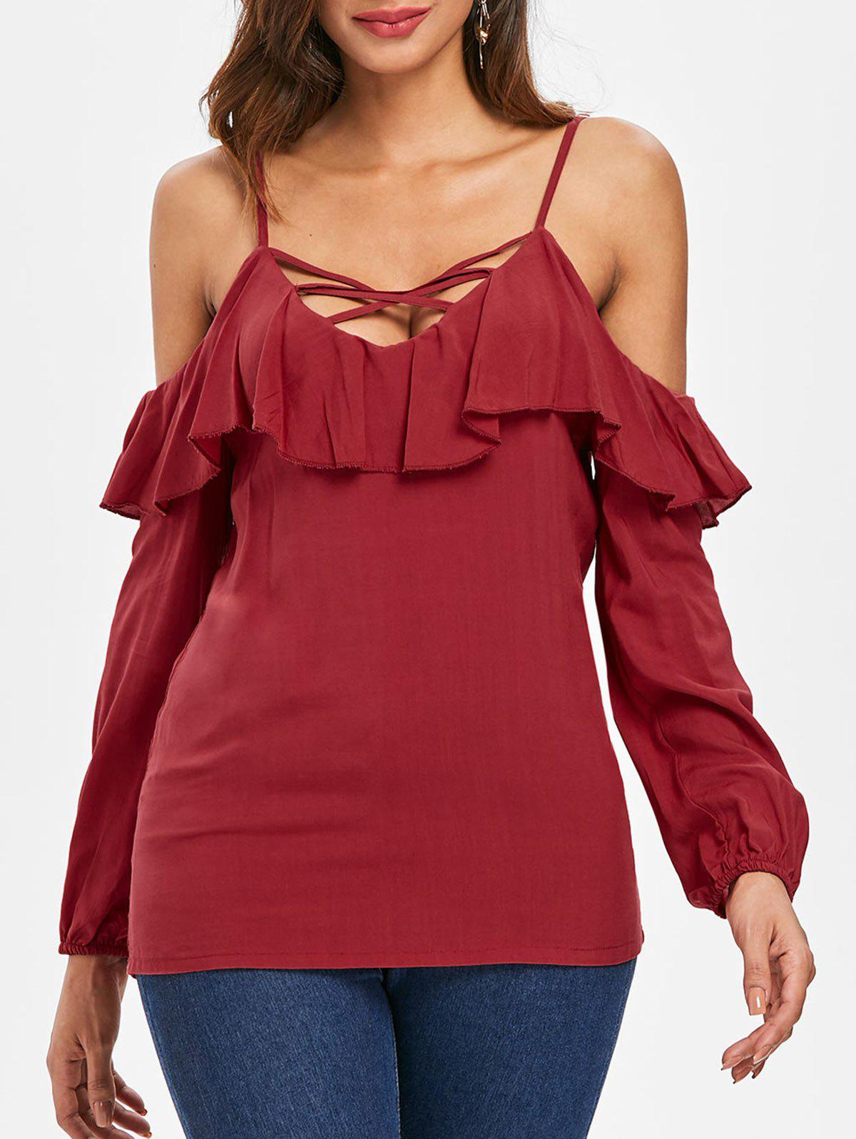 Online Criss Cross Cold Shoulder Blouse